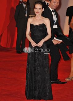 Slimming Black Lace Shaping Winona Ryder Venice Film Festival Dress. See More Venice Film Festival Dresses at http://www.ourgreatshop.com/Venice-Film-Festival-Dresses-C907.aspx