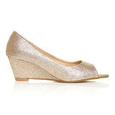 HONEY Champagne Glitter Wedge Mid Heel Peep Toe Shoes - ShuWish UK
