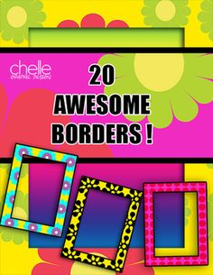 CLIP ART: 20 Fabulous Letter Size Borders 300 dpi, Full Color, PNG Format, Commercial Use Ok