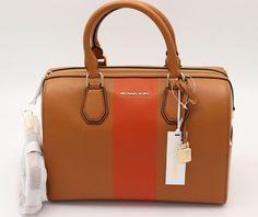 dc01055eb867 Michael Kors Studio Mercer Brown Leather Orange Center Stripe Satchel Bag  $328 #MichaelKors #Satchel