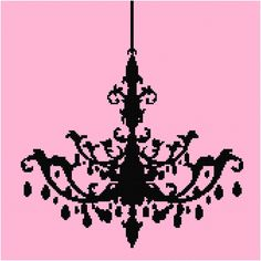 Chandelier Silhouette Cross Stitch Pattern - PDF - SALE - 1/2 OFF. $2.99, via Etsy.