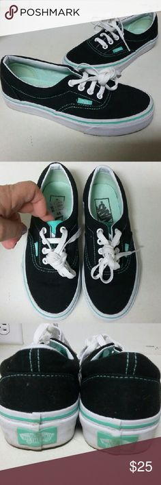 Vans black and mint sneakers sz.5.5 Wo Vans black and mint sneakers sz.5.5 Womens Excellent used condition looks like they ve been worn only a couple times Vans Shoes Sneakers