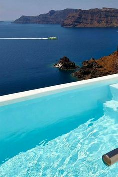 Infinity pool view in Santorini
