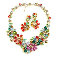 "Power of Flowers ~ Necklace Set ~ Multicolor. Rhinestone multicolor necklace set attracts attention of everyone. Length of necklace around neck 18.00"" and extender 3.00"", beautiful dangling clips-one earrings 2.75"". Price: $89.90"