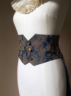 Steampunk Beetle Belt - Blue  Gold Brocade - Hand Made Womens Clothing - Victorian, Burlesque Tailcoat Belt- Waistcoat Belt. $130.00, via Etsy. Women's Belts - http://amzn.to/2id8d5j