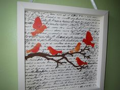 Paper Origami Shadowbox Wall Hanging - Red, Birds, Perched, Flying, Branch, Tree, Brown, Elegant, White, Room, Accent, Nursery, Writing