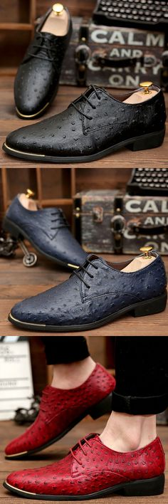 Luxury Brand Shoes Italian Style Men Dress Wedding Shoes Men's Business Oxfords Formal Flats Shoes Leather Derby Red Blue Black
