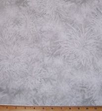 Botanicals tonal Mums Fabric By Yard Gray White Neutrals Red Rooster Cotton