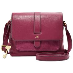 Fossil Kinley Small Crossbody (2.840 CZK) ❤ liked on Polyvore featuring bags, handbags, shoulder bags, raspberry, purple cross body purse, fossil crossbody, purple shoulder bag, crossbody shoulder bag and purple crossbody
