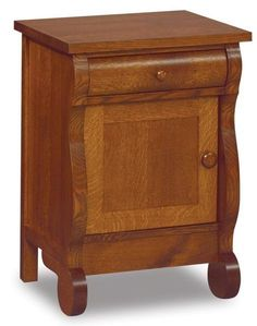 Amish Old Classic Sleigh Small One Drawer and One Door Nightstand One cabinet and one drawer offer storage. Charming solid wood furniture for bedroom. Choice of wood and stain. Custom options like charging station, slide out tray and touch nightlight also available. #nightstands