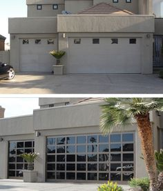 Before and after. Glass door opens up the entire facade.