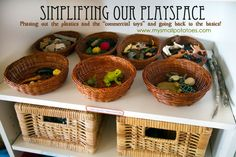 Simplifying play spaces - phasing out plastics and 'commercial toys' and getting back to the basics of real learning environments Play Spaces, Learning Spaces, Learning Environments, Kid Spaces, Dora Toys, Classroom Environment, Toy Rooms, Childhood Education, Waldorf Education