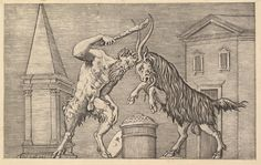 Speculum Romanae Magnificentiae: A Satyr and a Ram Clashing by Marco Dente (Italian, Ravenna, active by 1527 Rome), Antonio Salamanca (Salamanca Rome) Charles Quint, Monster Drawing, Desenho Tattoo, Heritage Image, Metropolitan Museum, Occult, Demons, New Art, Mythology
