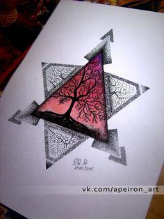 geometric tattoo pattern - - My best tattoo list Dreieckiges Tattoos, Kunst Tattoos, Neue Tattoos, Bild Tattoos, Tattoo Drawings, Cool Drawings, Body Art Tattoos, Mandala Triangle, Geometric Tattoo Pattern