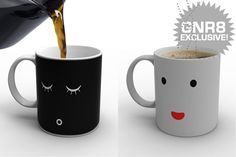 This coffee mug changes from a sleepy face to a happy face when coffee is poured into it. I need one of these!