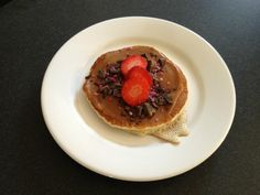 Pancake inspiration: fudge cream as a base topped with dark chocolate sprinkle and fresh strawberry
