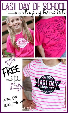 make your own Last Day of School Autographs Shirt (with FREE cut file for Silhouette) ~ Sugar Bee Crafts. Cute idea, but we don't have a silhouette. Silhouette Cameo Projects, Silhouette Design, Silhouette Files, Bee Crafts, Cricket Crafts, Vinyl Shirts, Monogram Shirts, End Of School Year, Silhouette Machine