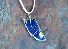 Blue Ceramic Broken Porcelain Necklace, Pendant, Silver Wire Wrapped, Jewelry, Handmade Pottery, Upcycled, Recycled,  | Caldwell Pottery