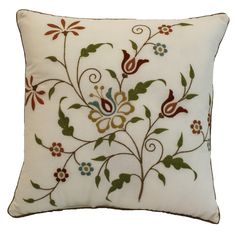 This decorative square toss pillow features a floral embroidery in rich tones of red, blue, and green on an ivory ground that coordinates perfectly with the Amherst bedspread. Cushion Embroidery, Hand Embroidery Patterns Free, Hand Embroidery Stitches, Crewel Embroidery, Embroidery Techniques, Toss Pillows, Decorative Throw Pillows, Cushion Cover Designs, Square