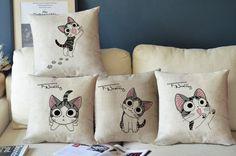 "Kawaii Tabby Cat ""Chi's Sweet Home"" Cotton Linen Pillow Case Cushion Cover 17"" | eBay"