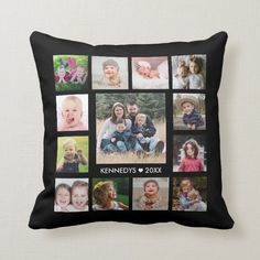 13 Family Photo Collage Create Your Own Black Throw Pillow - tap/click to personalize and buy #ThrowPillow #photo #collage, #family #name, #diy, Family Photo Collages, Family Photos, Navy Blue Throw Pillows, Accent Pillows, Baby Olive, Create Your Own, Create Yourself, Black Throws, Photo Pillows