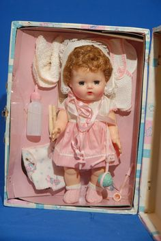 """This was like my third tiny tears doll. She had rooted hair. I think I still have that dress somewhere. 11"""" MIB Tiny Tears by American Doll & Toy Corp."""