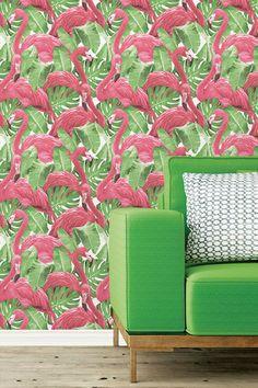 Flamingo by Galerie - Pink / Green / White - Wallpaper : Wallpaper Direct Pink Flamingo Wallpaper, Tropical Wallpaper, White Wallpaper, Pink Flamingos, Wallpaper Roll, Bathroom Wallpaper, Wallpaper Ideas, Galerie Wallpaper, Flamingo