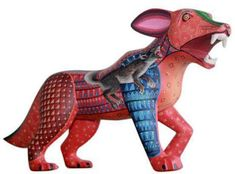 Teterete Modern Boho Chic Wolf Hand-Crafted Red Wooden Mexican Alebrije Figurine By Sarah Kay