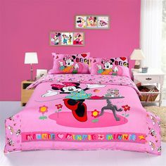 Happy Pink Minnie Mouse Bedding Sets-Disney Bedding Sets-Girls Bedding Sets