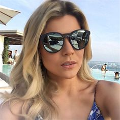 Luxury High Quality Fashion Mirror Sunglasses Women Brand Designer 2017 Vintage Oversized Shades Retro Sun Glasses 997263Y