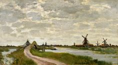 Claude Monet, Windmills near Zaandam on ArtStack #claude-monet #art