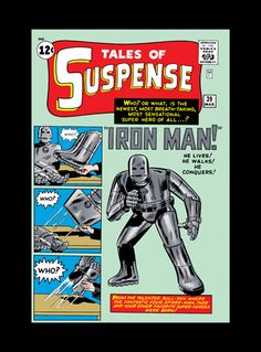 """""""Origins: Iron Man - Tales of Suspense #39"""" celebrates the first appearance of #IronMan and was first published in March 1963. Created by Stan Lee and Don Heck, the gray armor was changed to gold in the second issue April 1963. It was Steve Ditko who redesigned the sleek red and golden armor and appeared for the first time in Dec 1963.   Each piece is hand-signed by #StanLee. Limited availability, so get yours soon at artinsights.com"""