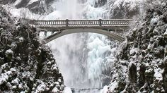 Multnomah Falls, Oregon - After an ice storm, freezing cold water continues to plummet an impressive 620 feet into the Columbia River. Visitors can take in the spectacular view from the Benson Bridge, built in 1914 for scenes like this one. Multnomah Falls Oregon, Seven Wonders, Top Travel Destinations, Travel Channel, Winter Travel, Natural Wonders, So Little Time, The Great Outdoors, Adventure Travel