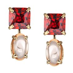 CIRO cleo earrings yellow red/champgne-colored cabochon shaped, faceted Cirolit red/champagne-colored, gold plated