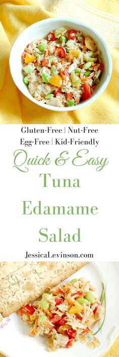 Quick and Easy Tuna Edamame Salad is a healthy, delicious, and balanced lunch the whole family can enjoy. Ready in less than ten minutes, it's perfect for the kids' lunchboxes or over a bed of greens for adults. Get the gluten-free, dairy-free, nut-free, and egg-free recipe @jlevinsonrd.