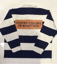 e68203e2c3c Vtg 90s united colors of benetton striped polo rugby shirt m racing f1  sport og