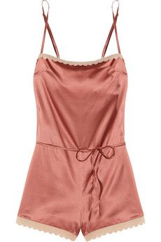 Stella McCartney Sam Partying scalloped stretch silk-satin playsuit.