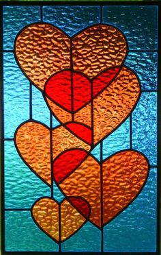 Stained Glass Window Panel Suncatcher / Red Hearts in Blue