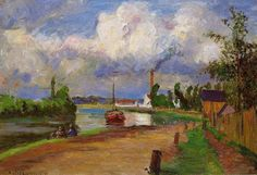 CAMILLE PISSARRO. Fishermen on the Banks of the Oise, 1876