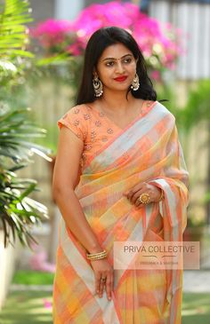 PV 3959 : Peach and Multicoloured checks Price : 3700 Rs Flaunt this pastel shaded multicoloured soft jute checkered sari with slight tinge of silver Unstitched blouse piece : Peach blouse piece as in the picture For Order Indian Silk Sarees, Tussar Silk Saree, Indian Beauty Saree, Beautiful Girl Indian, Most Beautiful Indian Actress, Beautiful Saree, Beautiful Women, Designer Sarees Wedding, Saree Blouse Neck Designs
