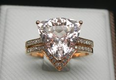 Engagement Ring Set  3 Carat Morganite Ring With by stevejewelry, $1100.00