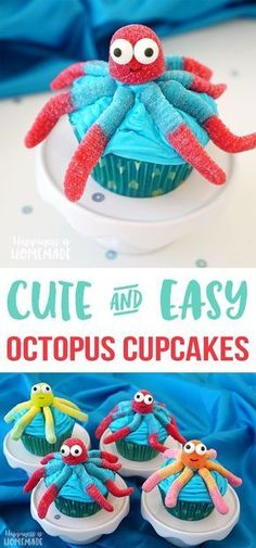 Super Cute Octopus Cupcakes - these quick and easy octopus cupcakes are perfect for your next Finding Dory or Nemo party! Cute for an ocean, beach, or under the sea themed bash! (cupcake recipes for kids easy) Mermaid Cupcakes, Cute Cupcakes, Party Cupcakes, Beach Themed Cupcakes, Ocean Cupcakes, Fish Cupcakes, Birthday Cupcakes, Beach Themed Desserts, Cute Cupcake Ideas