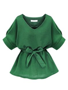 Shop Green V Neck Bow Tie Short Sleeve Blouse from choies.com .Free shipping Worldwide.$19.99