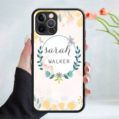 Personalised flower pattern phone case cover 245 Black (Apple Models Only) - 4