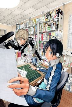 A live-action movie is in the works for Tsugumi Ohba's and Takeshi Obata's hugely popular manga *Bakuman* which has been serialized in *Weekly Shonen Jump* (Shueisha) since Manga Anime, Art Manga, Manga Artist, Manga Drawing, Anime Art, Platinum End, Tsugumi Ohba, Naruto, Wie Zeichnet Man Manga