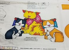 Vintage Daisy Kingdom Alley Cats Panel 10 in cat and two 7 in kittens