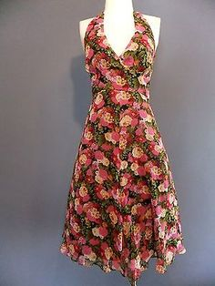 Vtg 1950s 1960s Style Floral Silk Halter Dress Pinup Rockabilly Retro