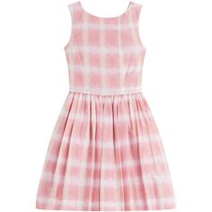 Marc by Marc Jacobs Gingham Cotton-Silk Dress ($175) ❤ liked on Polyvore featuring dresses, vestidos, robe, pink, rose, pink bow dress, pink gingham dress, rose dress, pink fitted dress and pink evening dress