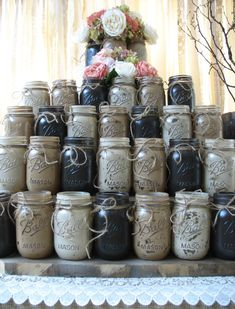 30 Pint Mason Jars, Ball jars, Painted Mason Jars in YOUR COLORS , Flower Vases, Rustic Wedding Centerpieces, Showers, Parties