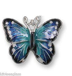 Zarah Blue Morpho Butterfly CHARM Sterling Silver Enamel - Jump Ring - Free Ship